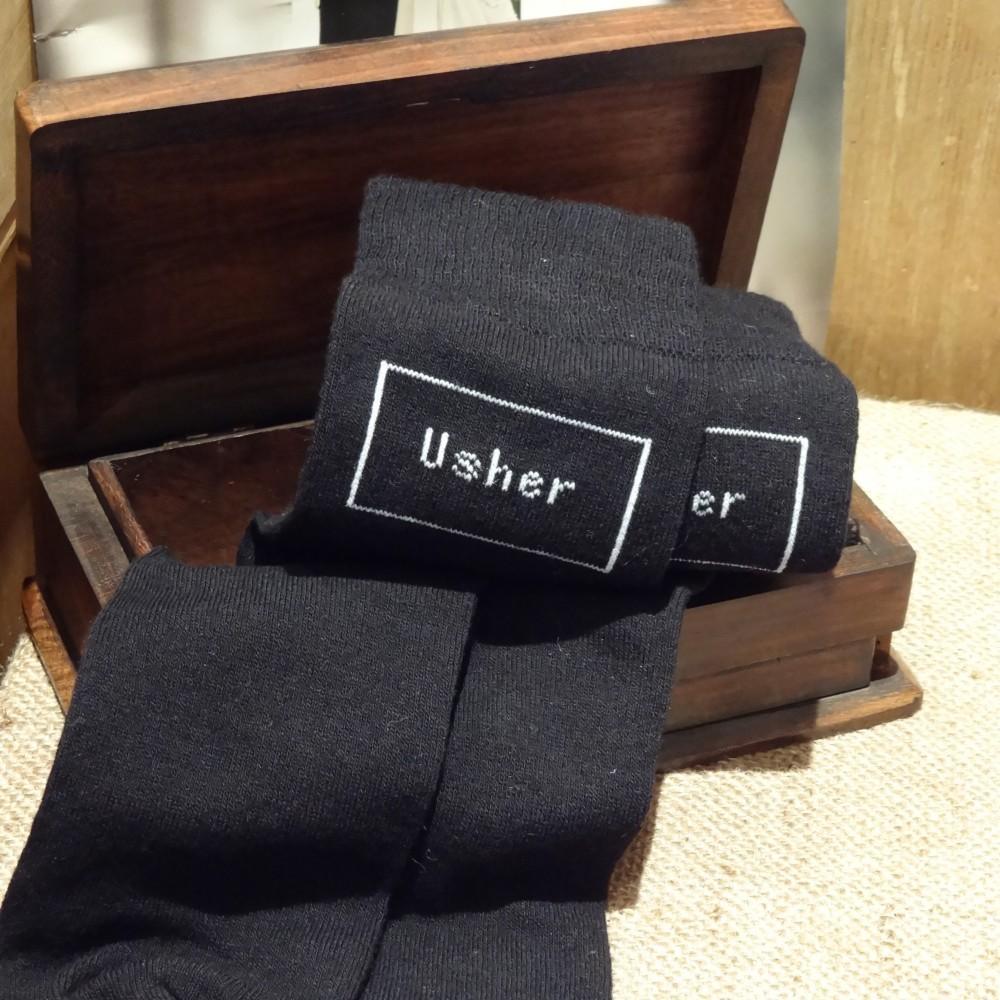 Usher Mens Black Wedding Socks