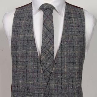 Harris Tweed Grey & Burgundy