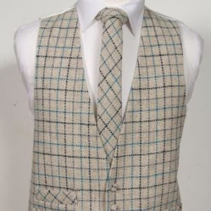 Harris Tweed Ivory and Turquoise