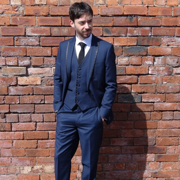 Mid Blue Slim Fit Suit 3PC