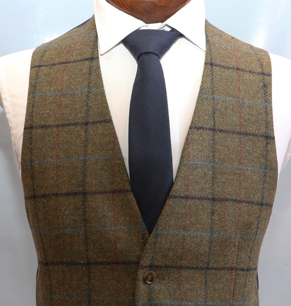 Green Navy Check Tweed